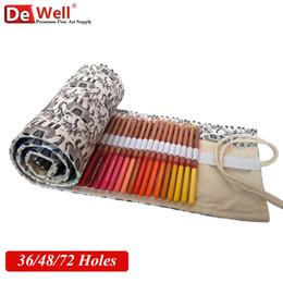 Wholesale Rolling Bag School - Wholesale- Wholesale Canvas Pencil Case 36 48 72 Holes Roll Up School Pencil Bag Material for School Supplies estuche escolar