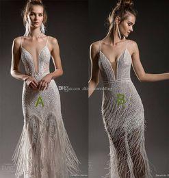 Wholesale Colorful Feather Dress - full embellishment sexy elegant fit and flare sheath wedding dresses 2018 emanuel brides bridal spaghetti strap deep plunging open v back