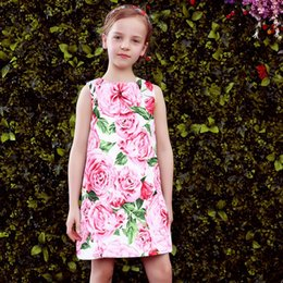 Wholesale Toddlers Cute Dresses - Casual Dress For Girls Toddler Princess Dress Baby Cute Cat Prints Girl Clothes Stylish Kids Party Dresses