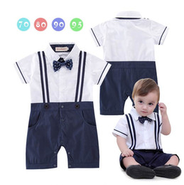 Wholesale Toddler One Piece Rompers - Boys Baby Gentleman Rompers Dots Bow Straps Summer One Piece Short Sleeve Jumpsuits Overalls Clothing Toddler Clothes E12216
