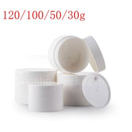 Wholesale Wholesale White Glass Cosmetic Jars - Empty white cosmetics container with screw lid, skin care face cream jar , Plastic pot for cosmetic packaging, more size bottle