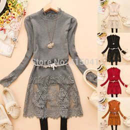 Wholesale Laced Bottom Sweaters - Wholesale- Free shipping New Beautiful Lace Patchwork O-Neck Long Sleeve Long Sweater Women Fashion Bottoming Knitted Sweaters
