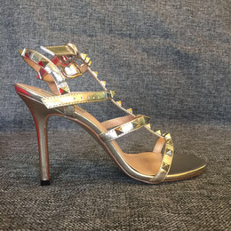 Wholesale Sexy High Strappy Sandals - actual shoes! 4391 40 gold genuine leather strappy sexy heels sandals fashion designer luxury tailor made summer