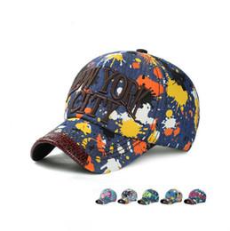 chapeaux mâle denim Promotion Meilleur cadeau printemps et en été personnalité graffiti peinture casquette de baseball mâle dame couple mince chapeau en denim chapeau DMB032