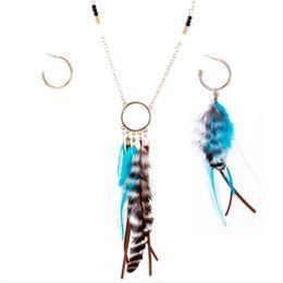 Wholesale Orange Feather Earrings - Indian Style Female Earrings Alloy Jewelry Sector Feather Earrings Beads Necklace Set Multi Tassel Jewerly Sets
