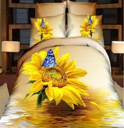 Wholesale Pieced King Quilt - 60S Wonderful New 3D Bedding Sets Reactive Printing Sunflower Quilt Duvet Cover Bed Sheet Pillowcase Four Piece Queen Size King Size