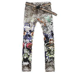 Wholesale Colored Drawing Jeans - Wholesale-Men's leopard print colored drawing flower male slim jeans COOL printed denim pants long trousers Free shipping