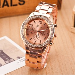 Wholesale Wholesale Diamond Watches Men - Geneva Luxury Created Diamond Stainless Steel Watch for Men Fashion Designer Brand Casual Cheap Quartz Watches Gold Rose Gold Silver Colors