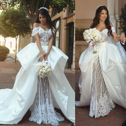 Wholesale Retro Short Wedding Dresses - Retro Lace Garden Wedding Dresses 2018 Off The Shoulder Bridal Gowns With Satin Overskirts Sweep Train Saudi Arabia Wedding Vestidos