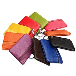 Wholesale Cow Key Rings - Wholesale- Women Genuine Leather Coin Purses Cow Leather Small Purse for Coin Children Wallet Key Ring Change Purse Monederos Mujer Monedas