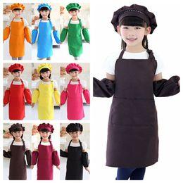 Wholesale Hat Cooks - Kids Aprons Pocket Craft Cooking Baking Art Painting Kids Kitchen Dining Bib Children Aprons Kids Aprons hats oversleeve set free shipping