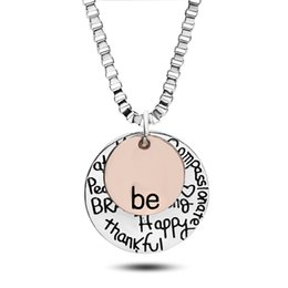 """Wholesale Strong Stainless Chain - 2017 Hot sell """"Be"""" Graffiti Friend Brave Happy Strong Thankfull Charm Heart Pendant Necklaces Free Shipping"""
