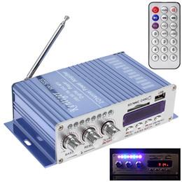 Wholesale 12v Mini Amplifier Speaker - HY502S FM Audio + MP3 Speaker Car Bluetooth Amplifier Hi-Fi Mini 2 Channel Digital Power Player with LED Light CEC_819