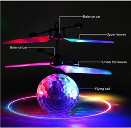 Wholesale Remote Helicopters Toys - RC Toy RC Flying Ball Infrared Induction Helicopter Ball with Rainbow Shinning LED Lights and Remote Control Flying Toys for Kids