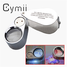 Wholesale Plastic Magnifiers - Wholesale- Cymii Watch Repair Tool Metal Jeweller LED Microscope Magnifier Magnifying Glass Loupe UV Light With Plastic Box 40X 25mm