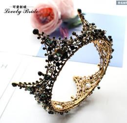Wholesale Black Rhinestone Tiara - DG Baroque crown black classics crystal jewelry large round crown bridal crown wholesal free delivery