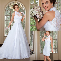 Wholesale Cheap Detachable Wedding Gowns - 2016 Cheap Elegant A Line High Neck Wedding Dress Detachable Skirt Wedding Dresses Sweep Train Beach Bridal Gowns vestido de noiva