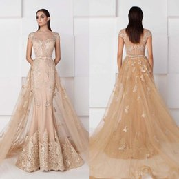 Wholesale Detachable Evening Dress - Saiid Kobeisy Mermaid Champagne Evening Dresses With Detachable Train Short Sleeve Lace Applique Prom Gowns Sheer Neck Vintage Party Dress