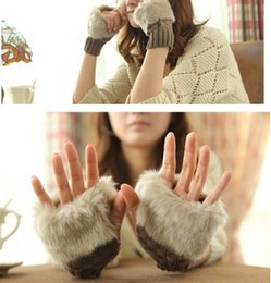 Wholesale Girls Fingerless Gloves Black - Women Girl Knitted Faux Rabbit Fur gloves Mittens Winter Arm Length Warmer outdoor Fingerless Gloves colorful XMAS gifts ems 100pcs