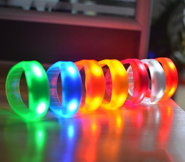 Wholesale Glowing Rings Sticks - Music Activated Sound Control Led Flashing Bracelet Light Up Bangle Wristband Club Party Bar Cheer Luminous Hand Ring Glow Stick Night Light