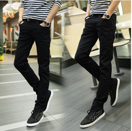 Wholesale Jeans Boys Feet - Wholesale-2016 Special Summer Slim thin section jeans boys pants feet long pants tide male Korean