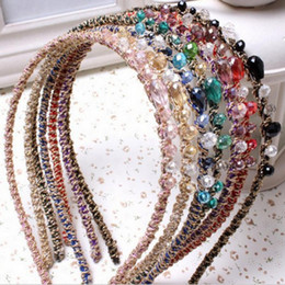 Wholesale Hoop Wire - 2017 Hair accessories lovely crystal hoop multicolor gold wire pearl hair band headband accessories free shipping