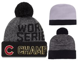 Wholesale Wholesale Beach Hats For Women - 2016 world series champs cubs beanies Winter Beanies High Quality Beanie For Men Women Skull Caps Skullies Pom Knit Hats Drop Shipping