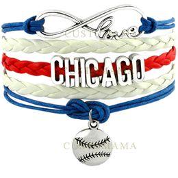 Wholesale Infinity Bar - Wholesale-(10 pcs lot) Infinity Love Chicago Baseball Charm Multilayer Bracelet Gift for Baseball Fans Red Blue White Leather Custom