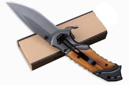 cuchillos de mango de madera Rebajas Browning X49 Tactical Cuchillo plegable Hoja de acero Mango de madera Titanium Pocket supervivencia Llavero Cuchillos Caza cuchillo Cuchillo Herramienta EDC B212Q