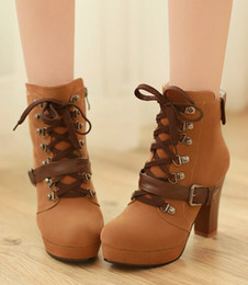 Wholesale Shoes For Bigger Women - Wholesale-2015 New Fashion Vintage Buckle Platform Martin Booties Lace Up Chunky Heel Ankle Boots For Women High Heels Shoes Bigger Size43