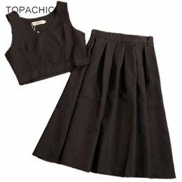 Wholesale Korean Top Long Skirt - TOPACHIC crop top and skirt set 2017 korean tracksuit summer style new plaid short shirt + A word skirt 2 piece set women set