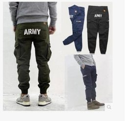 Wholesale Mens Multi Pocket Cargo Pants - Brand Mens Military Cargo Pants Multi-pockets Baggy Men Pants Casual Trousers Overalls Army Pants man jogging pantss