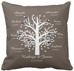 """Wholesale Tree Cushion Covers - Throw Pillow Case Family Tree, White Tree on Taupe, 8 Names & Dates Square Sofa Cushions Cover, """"16inch 18inch 20inch"""", Pack of X"""