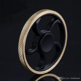Wholesale Brass Steering - Metal Wheel Fidget Spinners Steering Wheel Spinner 3 Patterns Brass Hand Spinner Metal Wheel Spinners EDC Decompression Fidget Toy