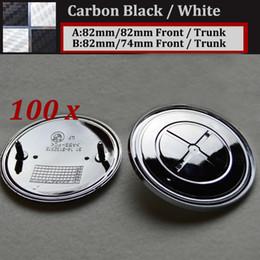Wholesale auto boot - Carbon fiber black white 82mm 74mm Car Head Hood Cap Rear Trunk Cover Auto Tail Boot Logo Label Front Bonnet Logo for E60 E90 F10 F30 F15