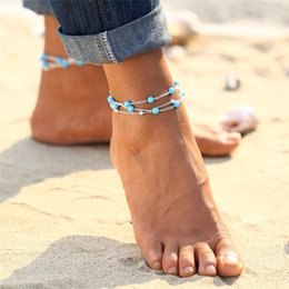 Wholesale Trendy Anklets For Girls - 2017 New Foot Jewelry Turquoise Beads Boho Anklets for Women Chaine Beach Vacation Bohemian Beach Party Barefoot Sandals Enkelbandje