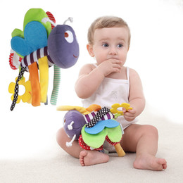 Wholesale Bee Plush Toy - Wholesale- Newborn Infant Baby Soft Dolls Cute Music Bee Pendant Baby Rattle Baby Plush Bed Hanging Toys Children Rattles Plush Toys