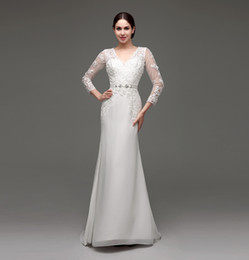 Wholesale Mermaid Wedding Belt Dress - Long Sleeves Wedding Dresses V Neck Mermaid Elegant Appliques Bridal Gowns With Belt Fast Delivery In Stock