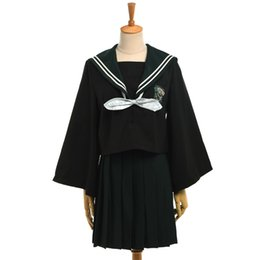 Gonna nera uniforme online-Harry Potter Cosplay Girls Casual Serpeverde JK Uniform Set Camicia nera Top con farfallino + Gonna a pieghe verde Outfit