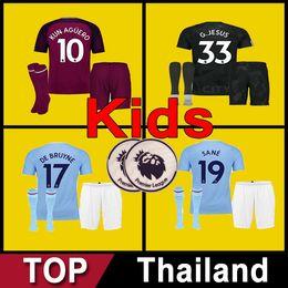 Wholesale Uniform City - 17 18 City soccer Jersey football shirt 2017 2018 kids kit boys youth DZEKO KUN AGUERO KOMPANY TOURE YAYA DE BRUYNE 3rd uniform maillot