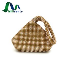 Wholesale Green Party Handbag - Wholesale- Milisente Mini Women Fashion Rhinestone Evening Bags Party Handbags Wedding Day Clutches Small Lady Bouquet Purse Gold Silver