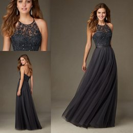 Wholesale Charcoal Bridesmaids Dresses - 2017 New Charcoal Gray Lace Appliques A Line Bridesmaid Dresses Long Halter Sleeveless Tulle Beads Honor Floor-Length Gowns Custom Made