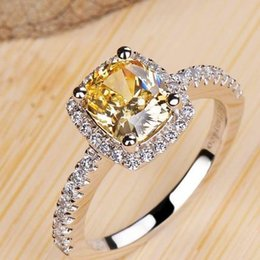 Wholesale platinum solitaire - Famous style Top quality SONA Yellow Clear carats Square Diamond Ring Platinum plated Women Wedding Engagement Ring fashion fine jewelry