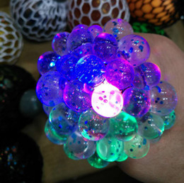 Wholesale healthy stress - 6cm LED luminous Cute Anti Stress Face Reliever Grape Ball Autism Mood Squeeze Relief Healthy Toy Chameleon lamp Grape Decompression toys B