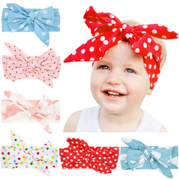 Wholesale Dotted Flower Headband - Girls big bowknot diy headband flower stars dots print cute hairband infants baby sweet hair accessory