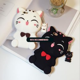 Wholesale Iphone Rubber Cartoon Cases - Cute Silicon 3D Cat Bow Case For iphone 5S Case For iphone 5 SE 6 6S Plus 7 7plus Cartoon Animal Lovely Rubber Phone Cases Back Cover