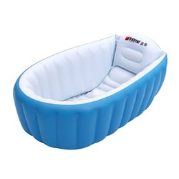 Wholesale Inflatable Kids Swimming Pool - Wholesale-New Baby kids Swimming Pool Summer Children Bathtub Inflatable Foldable Bath Pool for 0-3 years old Baby Portable Shower Basin