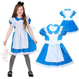 Wholesale Dresses 12 Years Old Girls - Alice In Wonderland Fancy Dress Costume Girls Party Dresses Girls Summer Skirt Kids Summer Clothes 4-12 years old Girls Dresses LA388