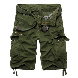 Wholesale Beach Cargo Pants - Wholesale- Stylish Men's Solid Cargo Shorts Summer Casual Loose Cotton Bermuda Masculina Multi-Pocket Beach Capris Short Pants