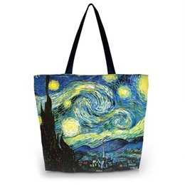 Wholesale Shool Bags - Wholesale- Starry Night Women Reusable Shopping Bag Large Capacity Female Handbags Daily Use Girls Travel Shool Bag Grocery Packing Tote